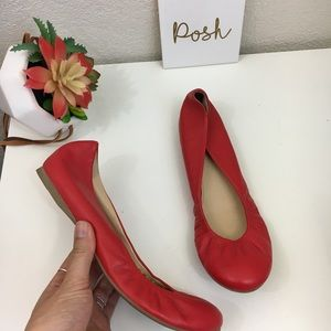 J. Crew Cece red leather flats